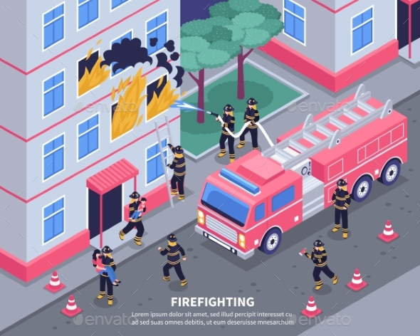 Isometric Firefighter Illustration - Miscellaneous Vectors
