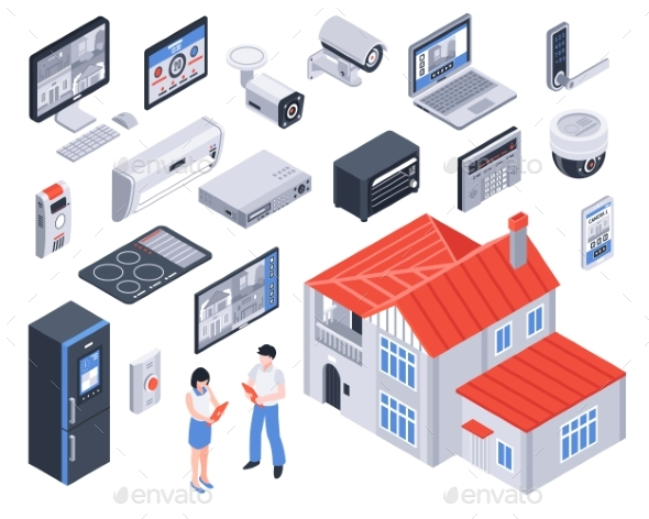 Isometric Smart Home Icon Set - Communications Technology