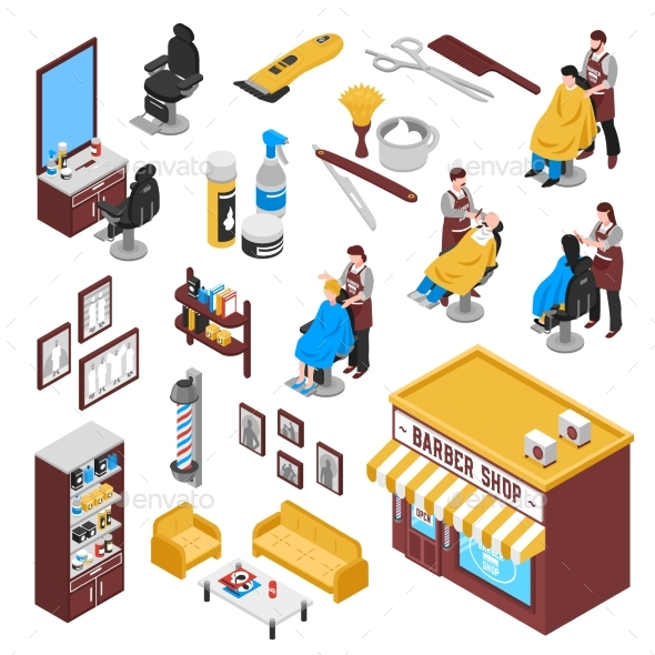 Isometric Barbershop Set - Services Commercial / Shopping