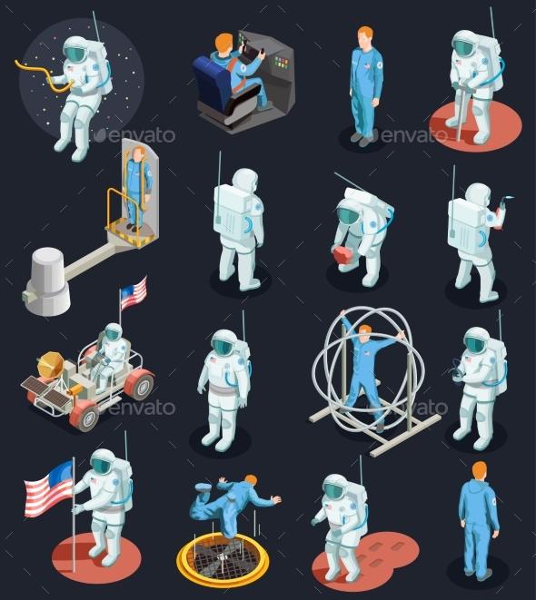 Astronauts Isometric Characters Set - People Characters
