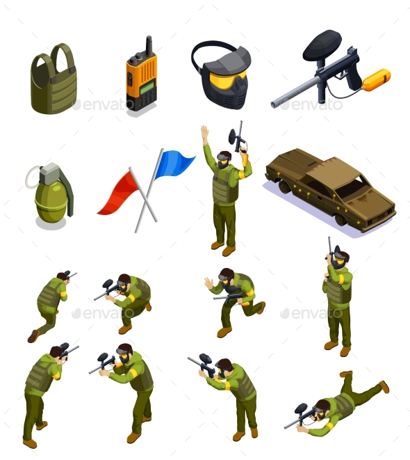 Paintball Isometric Elements Set - Sports/Activity Conceptual
