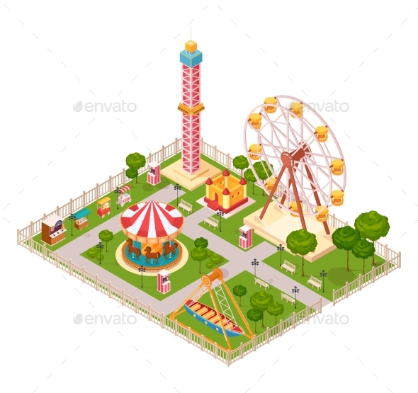 GraphicRiver Amusement Park Isometric Design Concept 20582572
