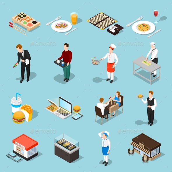 GraphicRiver Fast Food Isometric Icons Set 20582573