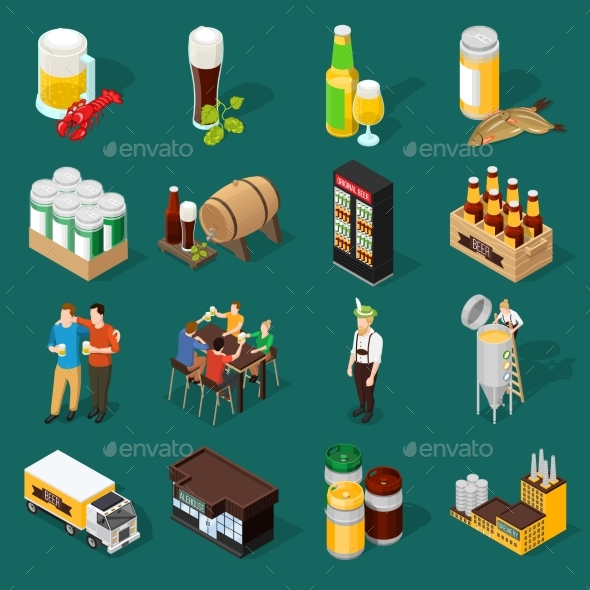 GraphicRiver Beer Isometric Icons Set 20582575