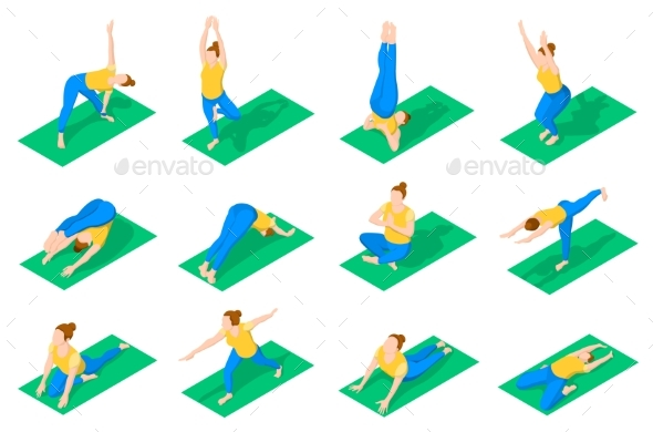 GraphicRiver People In Yoga Poses Isometric Icons 20582578
