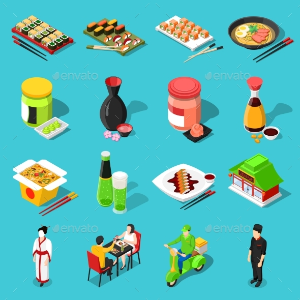 GraphicRiver Sushi Bar Isometric Icons 20582581