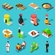 Sushi Bar Isometric Icons