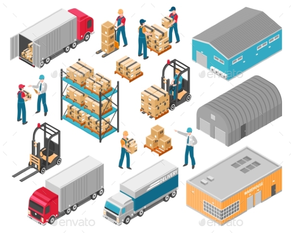 Isometric Warehouse Logistic Icon Set - Industries Business