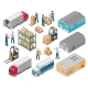 Isometric Warehouse Logistic Icon Set