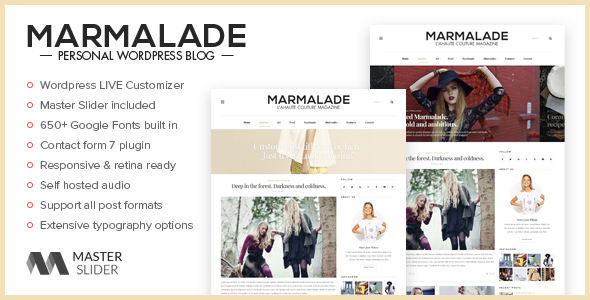 The Marmalade - Personal WordPress Blog Theme - Personal Blog / Magazine