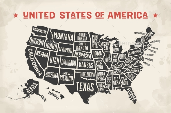 GraphicRiver Poster Map United States of America with State Names 20582634