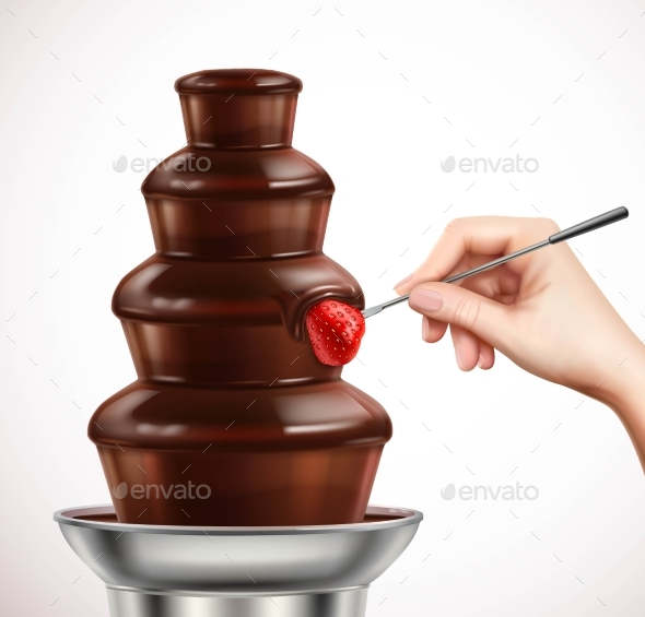 GraphicRiver Dip Strawberry Into Chocolate Fountain Composition 20582656