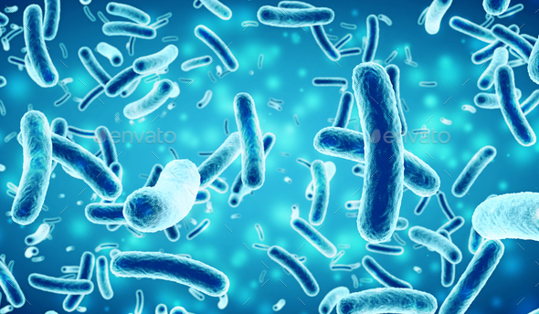 bacteria in a blue background, 3D illustration - Stock Photo - Images