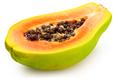half ripe papaya isolated on white background