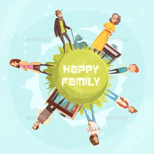 Happy Family Circular Background - People Characters