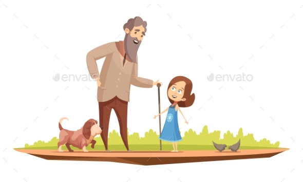 Grandparent Senior Character Outdoor Cartoon - Landscapes Nature
