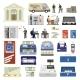 Flat Bank Set - GraphicRiver Item for Sale
