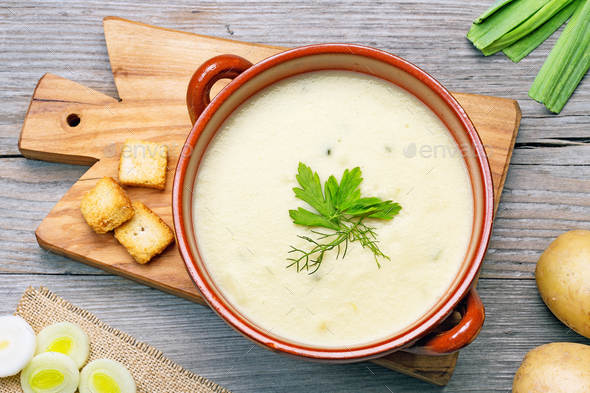 leek and potato soup top view - Stock Photo - Images
