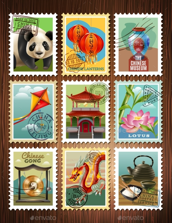 China Travel Stamps Set Poster - Man-made Objects Objects