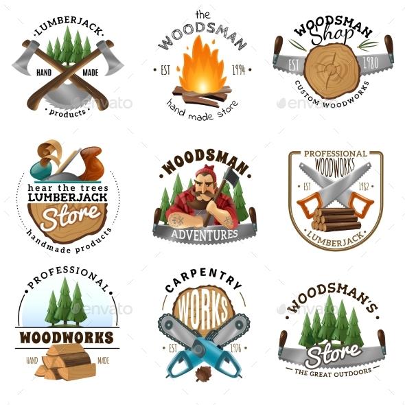 GraphicRiver Lumberjack Logo Emblems Labels Set 20582747
