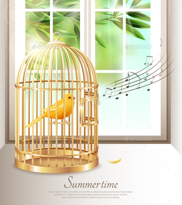 GraphicRiver Singing Canary in Summer Time Illustration 20582758