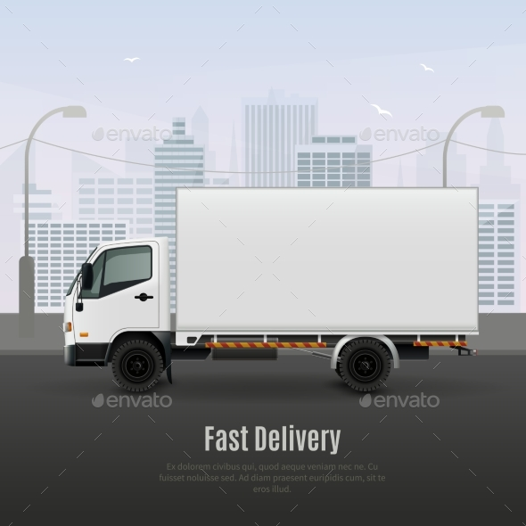 Cargo Vehicle Realistic Composition - Industries Business