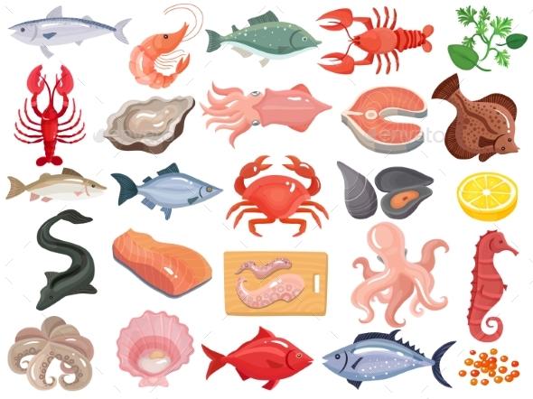 Seafood Flat Icons Big Set - Food Objects