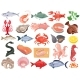 Seafood Flat Icons Big Set