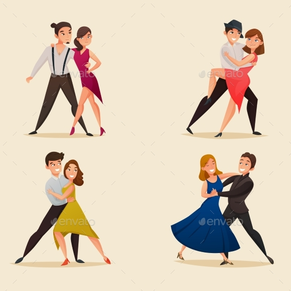 Dance Pairs Retro Cartoon Set - People Characters