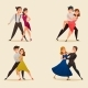 Dance Pairs Retro Cartoon Set