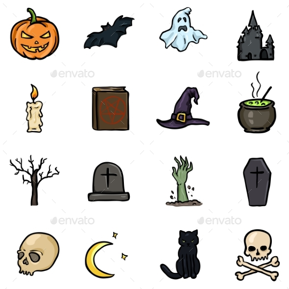 Vector Set of Color Doodle Halloween Icons - Halloween Seasons/Holidays