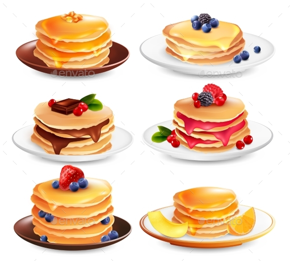 GraphicRiver Maple Pancakes Isolated Set 20582939