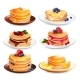Maple Pancakes Isolated Set
