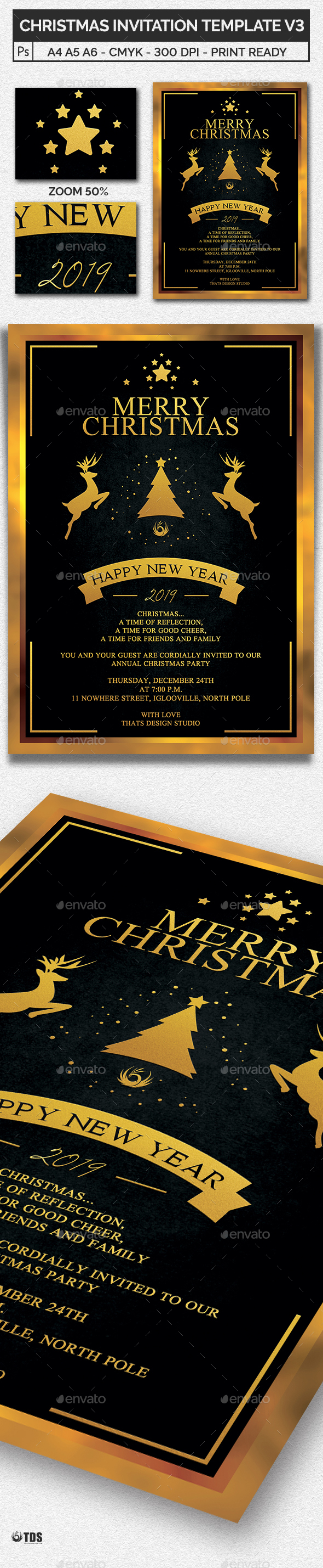 Christmas Invitation Template V3 - Invitations Cards & Invites