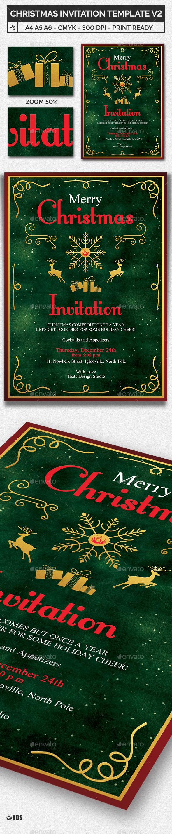 Christmas Invitation Template V2 - Invitations Cards & Invites
