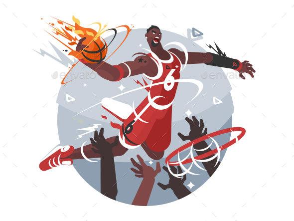 GraphicRiver Basketball Player with Ball 20583138