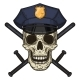Vector Illustration of Human Skull in Police Cap