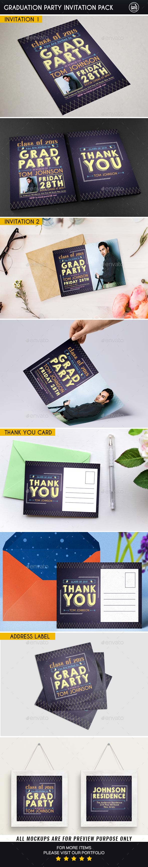 Graduation Party Invitation Pack - Invitations Cards & Invites