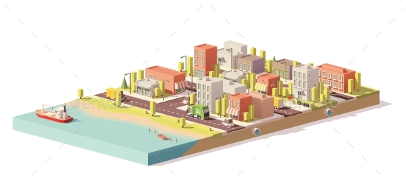 Vector Low Poly 2d Buildings and City Scene - Buildings Objects