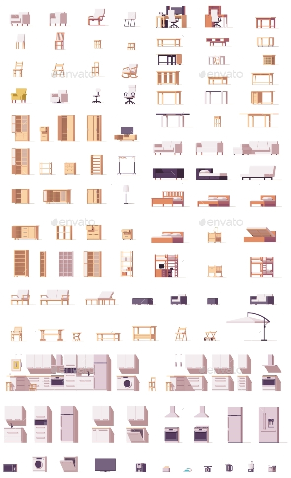 Vector Low Poly Furniture Set - Man-made Objects Objects