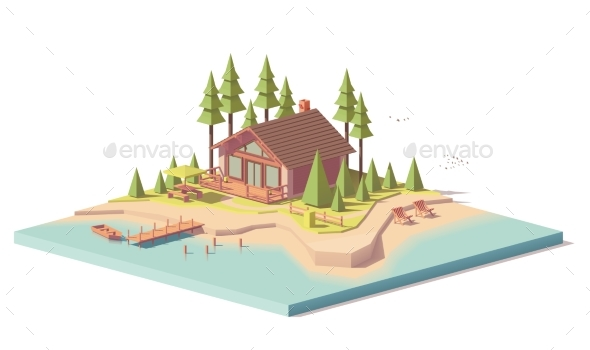 GraphicRiver Vector Low Poly House in Forest 20583539