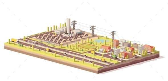 Vector Low Poly Solar Power Plant and City - Buildings Objects
