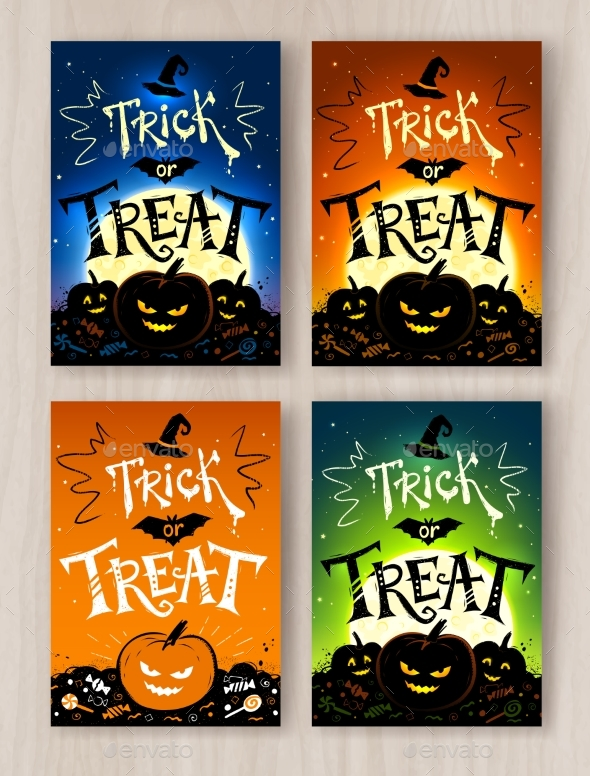 Trick or Treat Halloween Postcards Designs - Halloween Seasons/Holidays