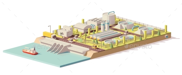 Vector Low Poly Water Treatment Plant - Buildings Objects