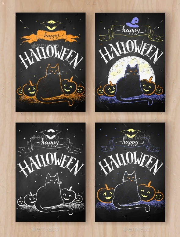 Halloween Color Chalked Postcards Designs - Halloween Seasons/Holidays