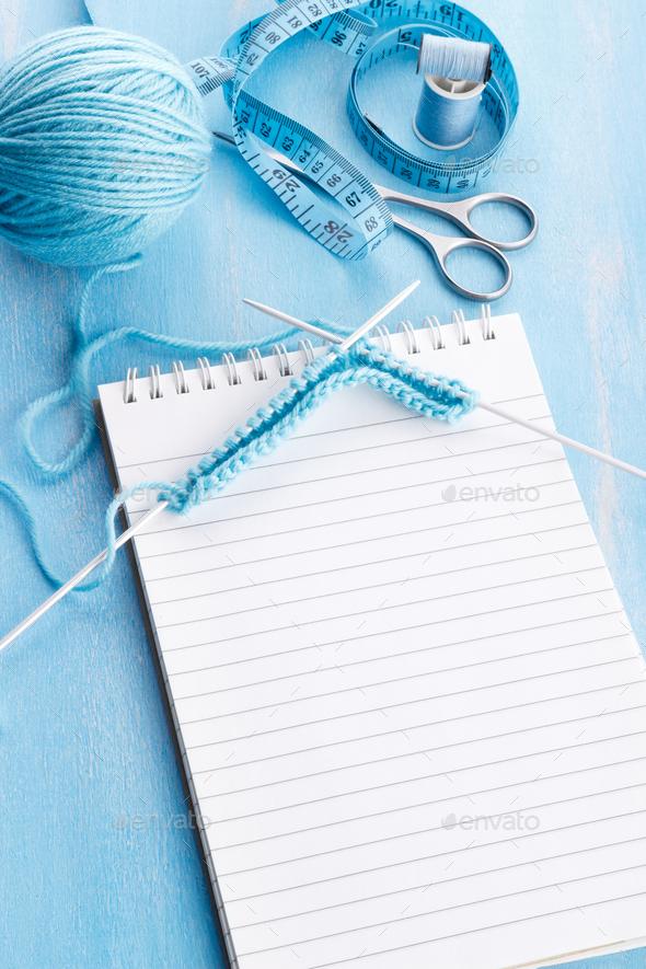 Blue knitting wool - Stock Photo - Images