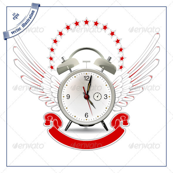 Clock Wing Emblem - Retro Technology