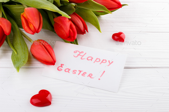 Red tulips background - Stock Photo - Images