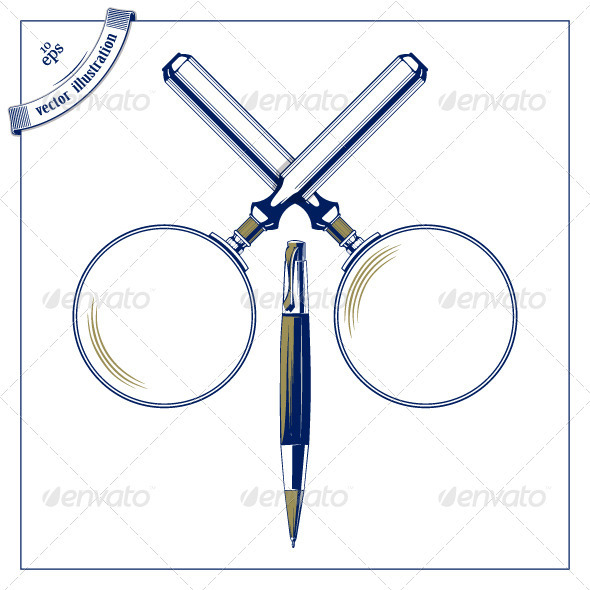 Magnifier And Pen Icons - Man-made Objects Objects