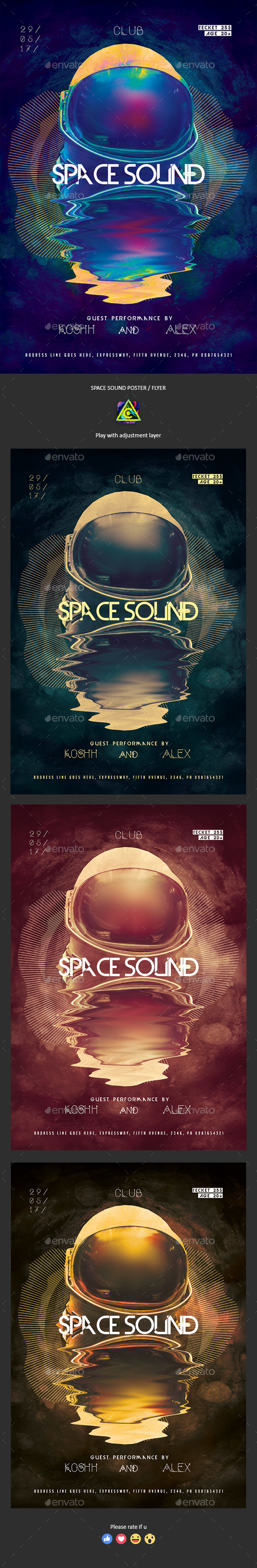 Space Sound Poster / Flyer - Clubs & Parties Events